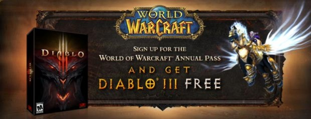 dfree 620x239 Blizzcon: WoW Annual Subscribers get Free Diablo III, Beta Access, Flying Mount   Limited Time Offer