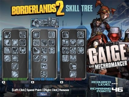 borderlands2mechromancer Gearbox Reveals Mechromancer Skill Tree, Set to Release Tomorrow