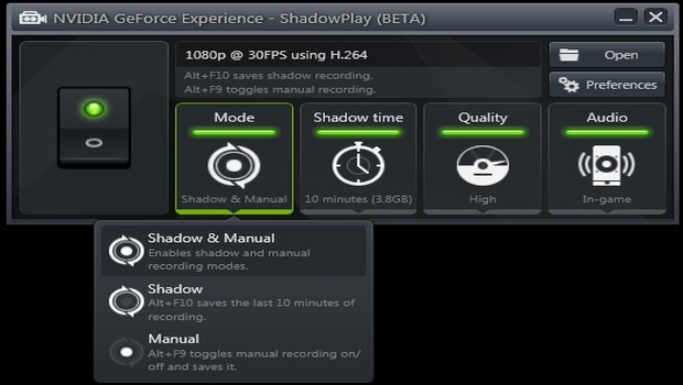 ShadowPlay UI Shadowplay   Nvidias play to capture the capture market