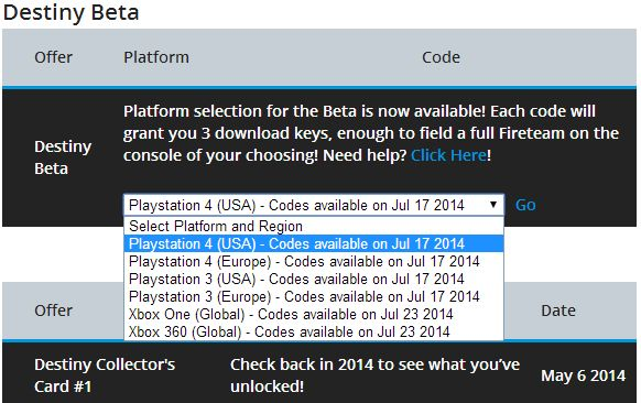 140503910142 Destiny Beta Registration Grants You Three Registration Keys