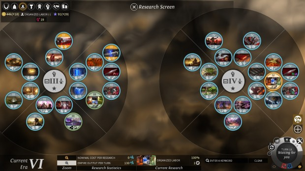 The research tree is huge and varied in the early eras, but is lacking in the later tiers.