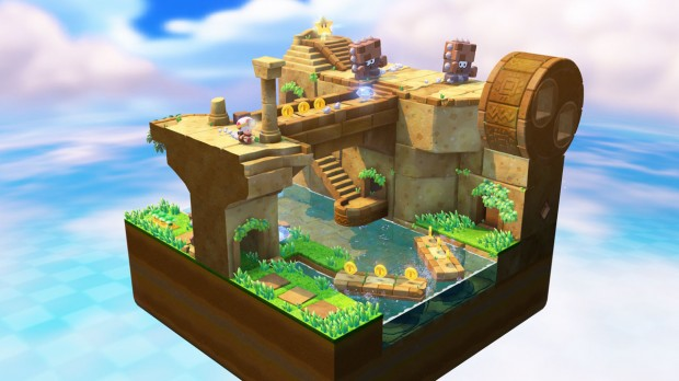 Toad's goal is to reach the star in each cube-shaped stage.