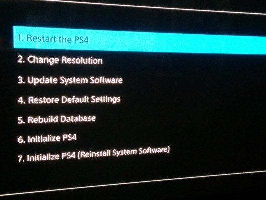 Welcome to the PlayStation 4's safe mode menu.
