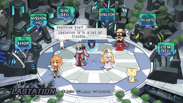 The hub of Lastation is vibrant, and houses many different characters throughout the game.