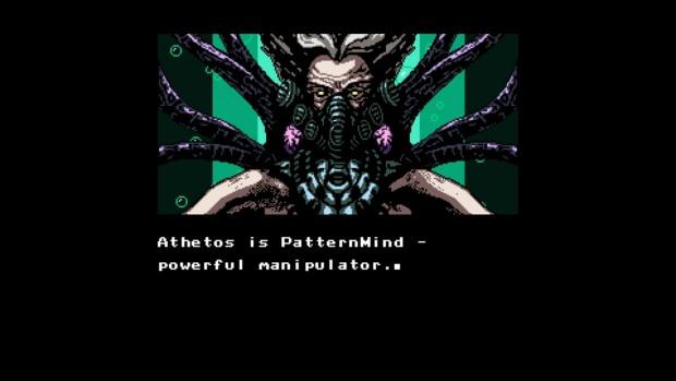 The few story cutscenes are told through stylistic 8-bit stills and scrolls.