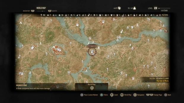 Just a small sliver of the massive world map in The Witcher.