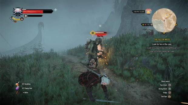 Timing your parries and dodges is important against larger foes who can break your defenses in a swing.