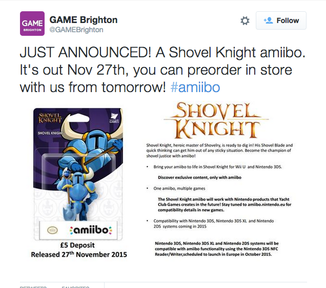 Shovel Knight may be getting an amiibo figure in November
