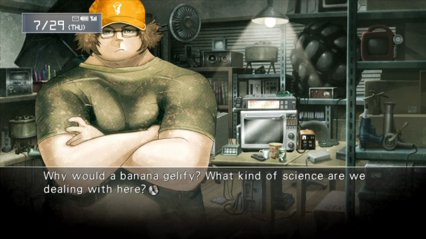 Most of Steins;Gate plays out in text windows, with occasional text messages to break up the conversation.
