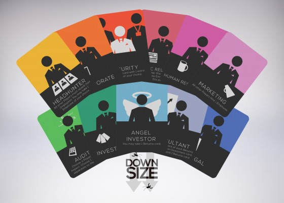 A cross-section of some of the cards in Downsize