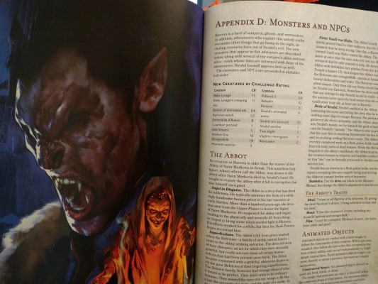 The beautiful artwork helps set the dark tone of Curse of Strahd