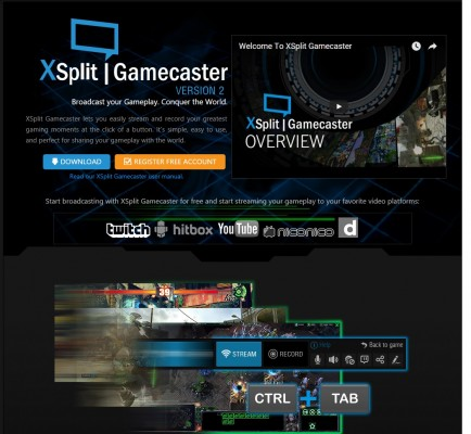 The XSplit software might open the door for streaming for you.