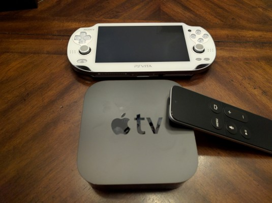 Apple TV -- Sony Vita for scale.