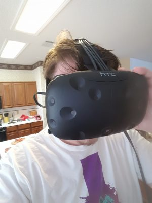 "A shot of me with the Vive, already rocking what I came to call ""mad VR hair."""