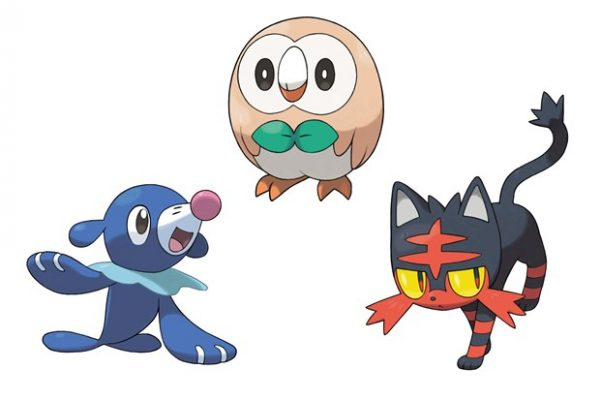 Popplio, Rowlet, and Litten.