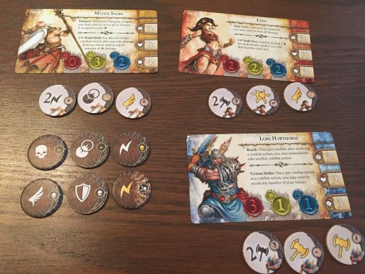 Characters and combat tokens.
