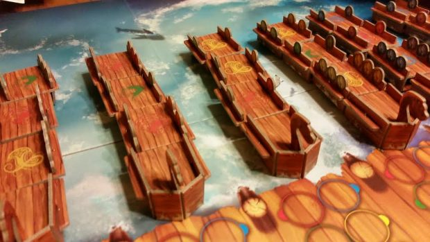 From the pre-constructed ship sections to the beautiful board, Vikings on Board is a great looking game.