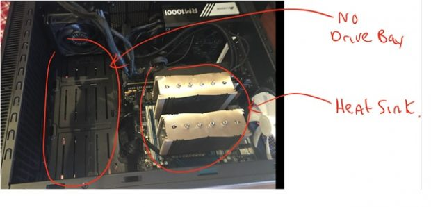Figure 8: Using M.2 means no drive bays needed. Extra space keeps it cooler and makes it easier to work on things. I prefer heat sinks over water cooling because when swapping out CPUs (often) I can literally just rest a heat sink on top of a CPU to test things out – no hooking anything up.