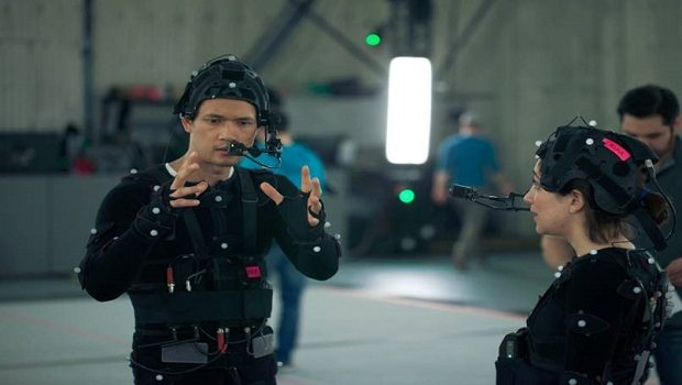 Harry Shum Jr. and Erika Soto in motion capture gear.