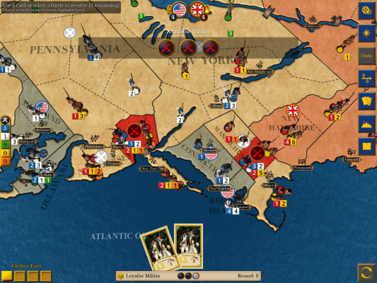 Moving into an opponent's area triggers a battle, and multiple battles can occur each turn.