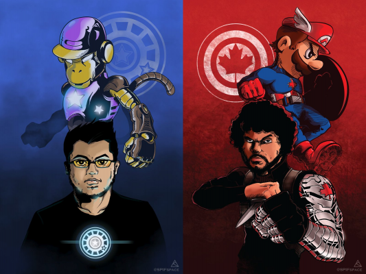 ZeRo and Diddy Kong as Iron Man; Mario as Captain America and Ally as the Winter Soldier. Art by SPIFspace.