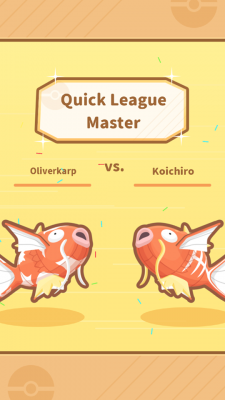 A screenshot of Magikarp Jump showing two Pokemon facing off in a jumping contest