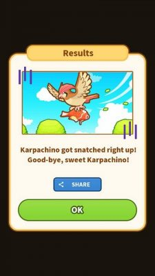 A screenshot of Magikarp Jump showing the random event where Pidgeotto can swoop down and steal your Magikarp from you