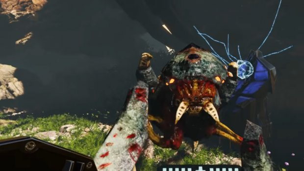 A screenshot of an alien bug creature from Seeking Dawn, a VR game.