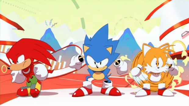 Knuckles, Sonic, and Tails as seen in the opening animation