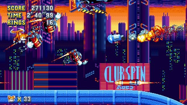 Tails fighting the boss of Studiopolis Zone Act 2