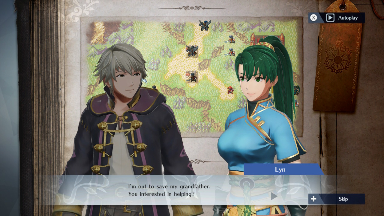 Lyn talking to Robin in her section of History Mode