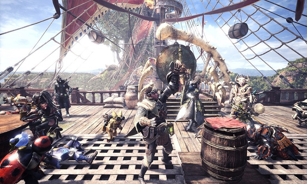 A Player Holds an Item in a Monster Hunter Expedition, Surrounded by Other Players