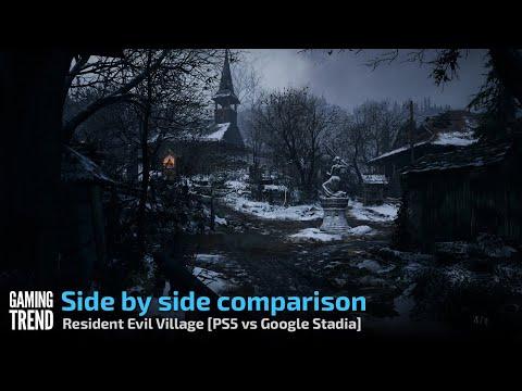 Resident Evil Village - Side by side comparison - PS5 vs Google Stadia [Gaming Trend]