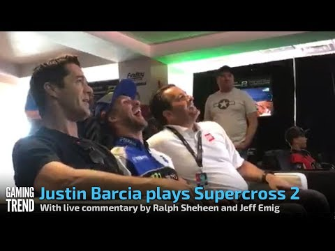 Justin Barcia plays Supercross 2 with live commentary by Ralph Sheheen and Jeff Emig