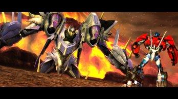 Transformers Prime_Wii U screenshot_Optimus Prime faces Thunderwing