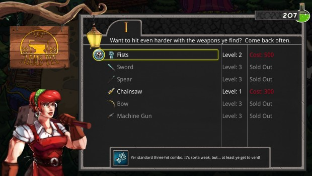 You can upgrade any weapon you can find, but you'll have to pick it up in the dungeon first.