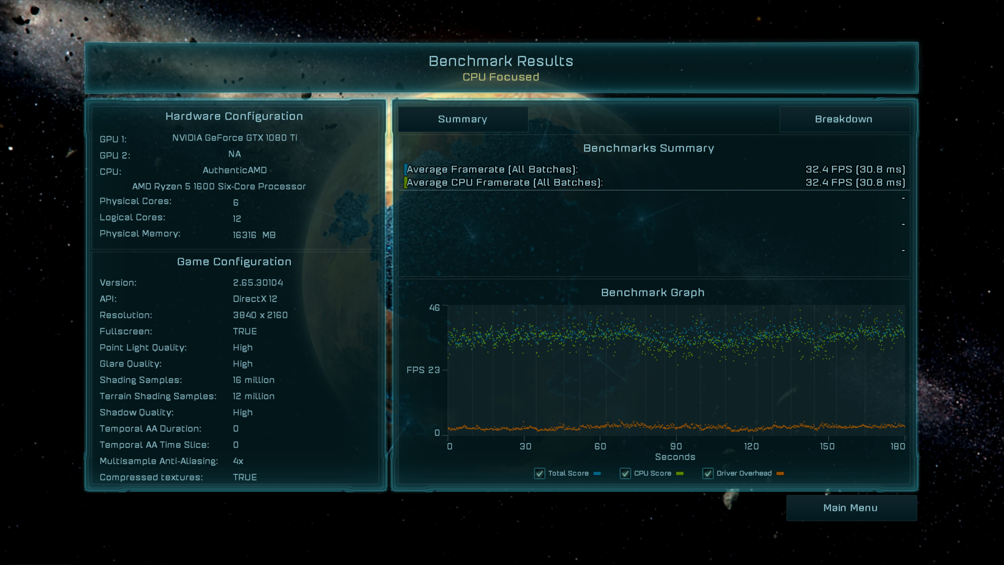 Ashes of the Singularity Escalation - 1080TI - 4K - CPU Focus