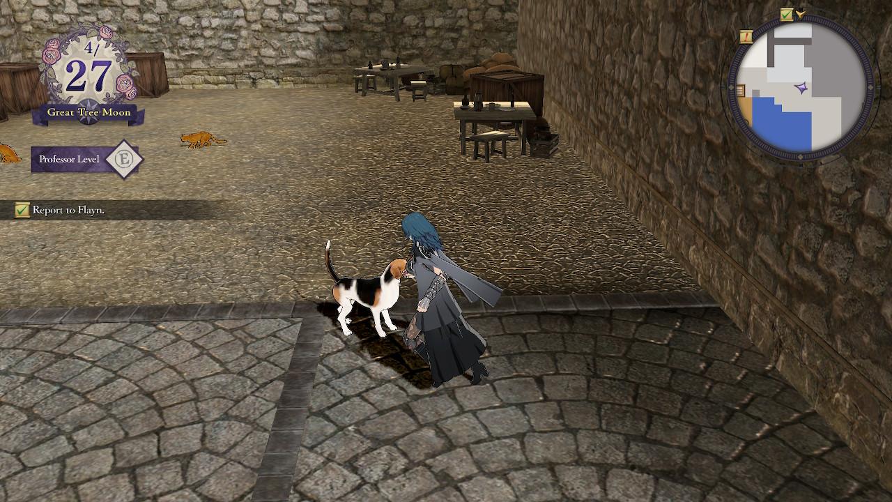 Byleth walking near a dog