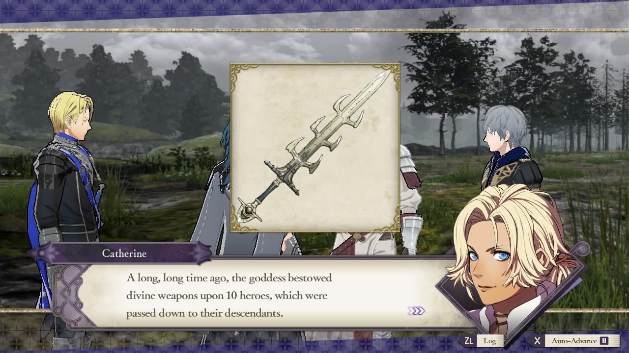 Catherine describes Crests and Hero's Relics.