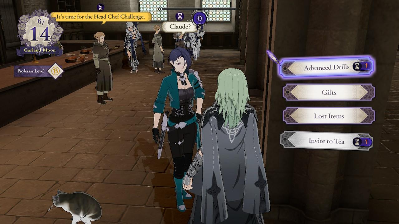Byleth talks to Shamir during monastery exploration.