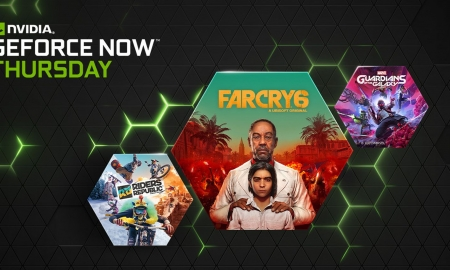Shows some of the games coming to GeForce NOW this month - including Marvel's GOTG, Far Cry 6, and Riders Republic